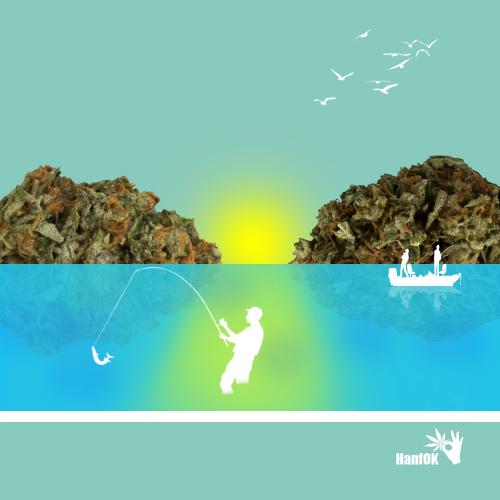 Angler und Cannbisberge