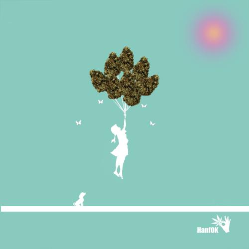 Cannabisballons Mädchen Bangs